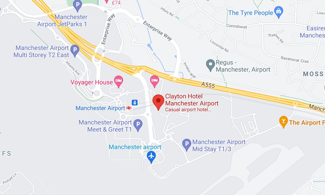 Manchester Airport PCR Map
