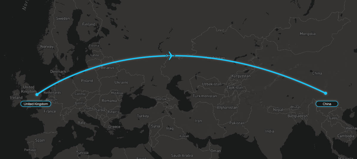 UK China Flight Path