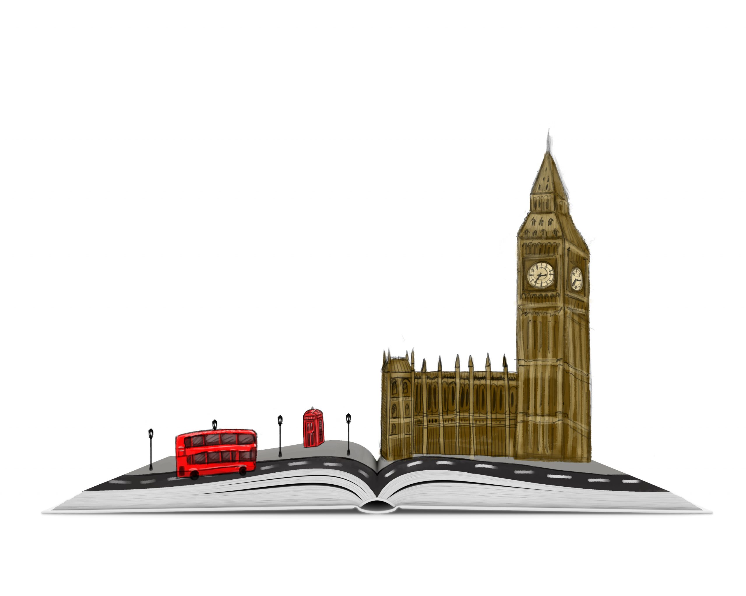 An Open Book with a Sketch of London Popping Out