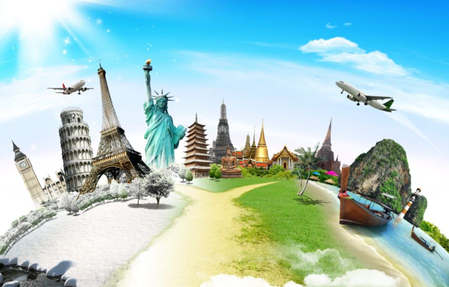 Illustration of Famous Monuments with Plane Flying Over them